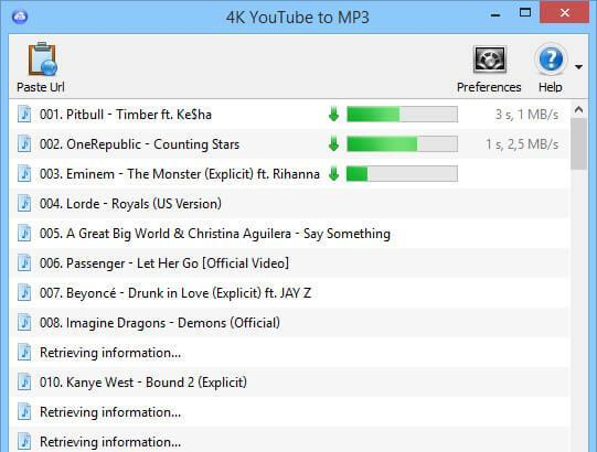 scaricare musica e video da Youtube con 4K YouTube to MP3